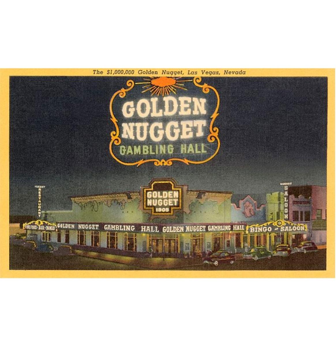 Golden Nugget Gambling Hall, Las Vegas, Nevada - Vintage Foto, Kunst Afdruk