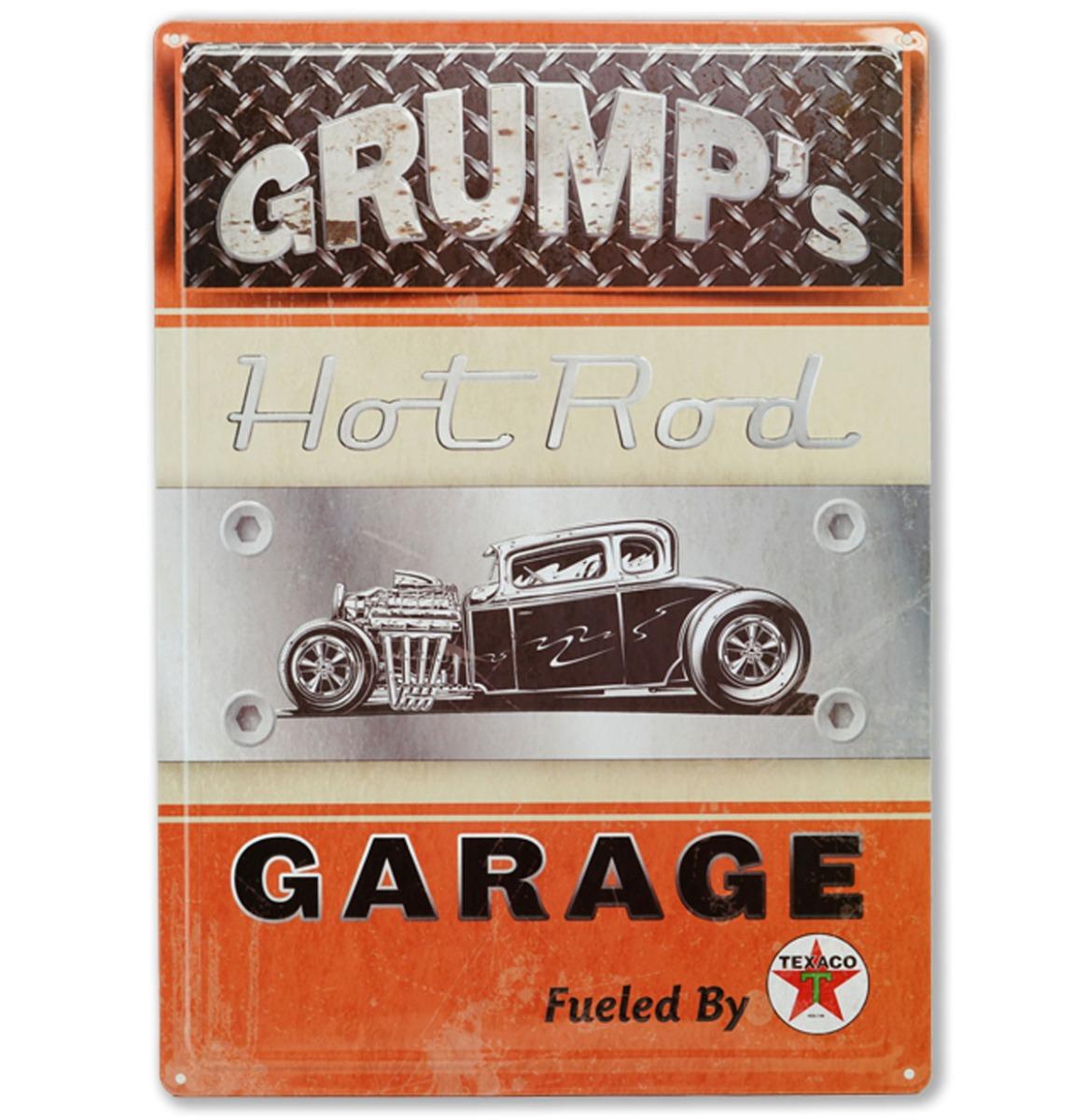 Grump's Hot Rod Garage Metalen Bord Met Reliëf 43 x 31 cm