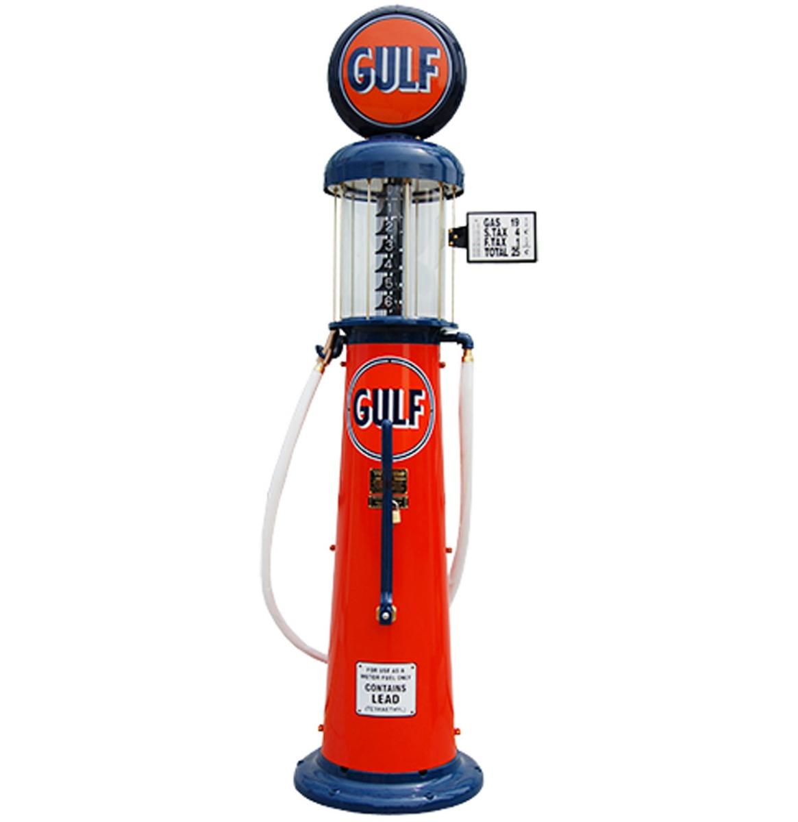 Wayne 615 Gulf 6 Gallon Benzinepomp - Oranje & Blauw - Reproductie