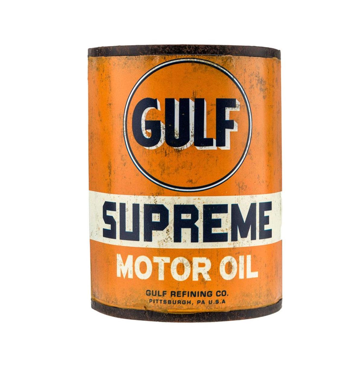 Gulf Motor Oil Metalen Blik Half voor aan de Muur