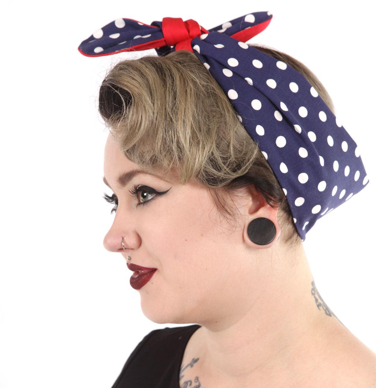 Vintage Inspired Headband Navy Dots/Red