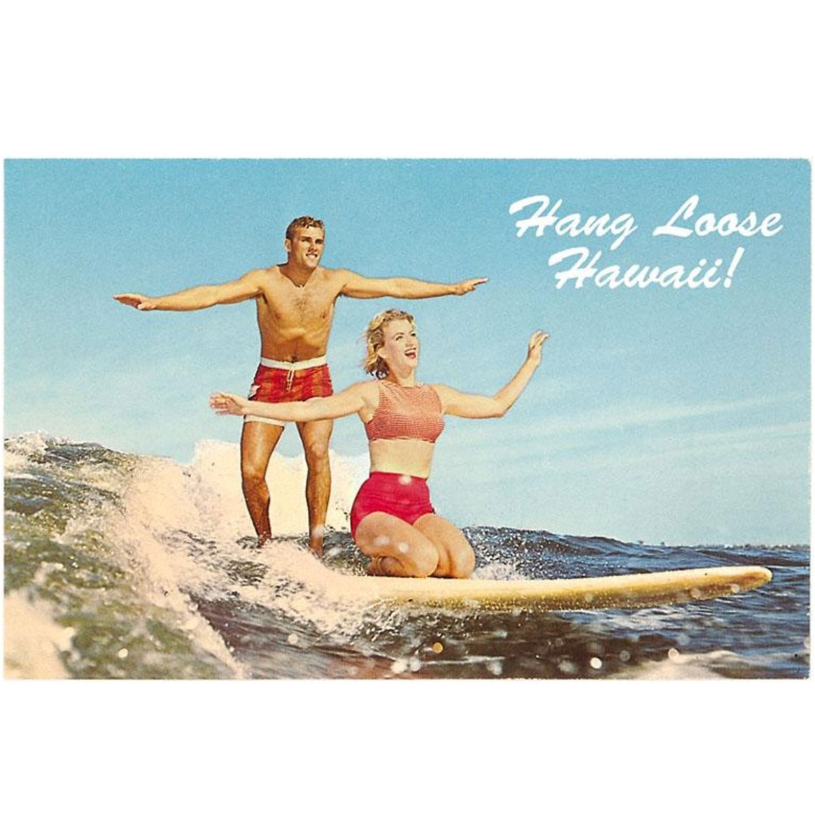 Hang Loose Hawaii, Tandem Surfing - Vintage Foto, Kunst Afdruk
