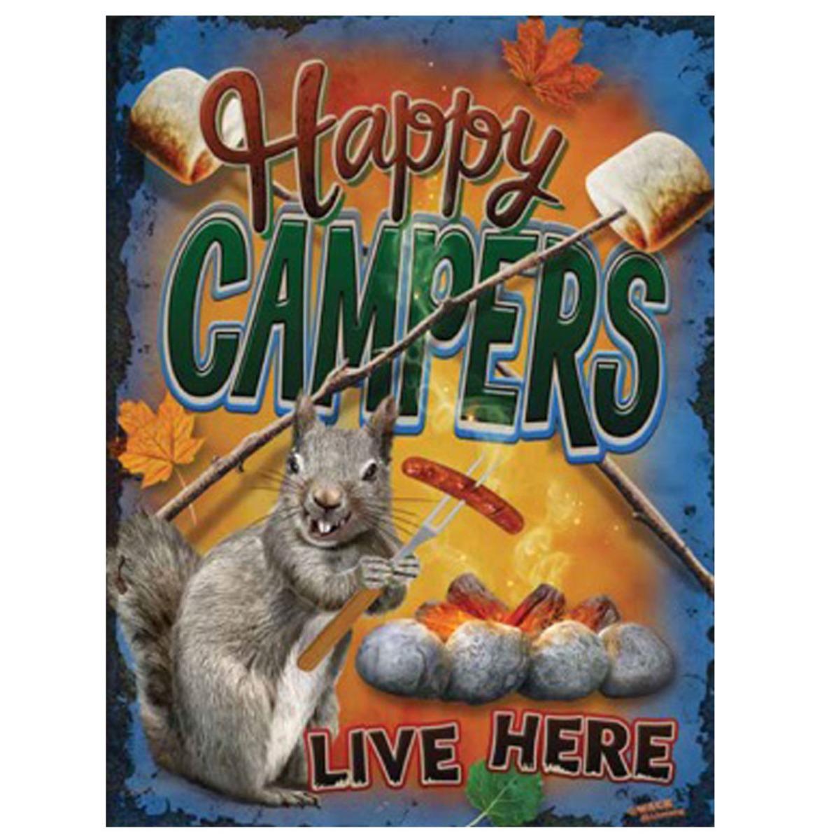 Happy Campers Live Here Metalen Bord met Reliëf 43 x 31 cm