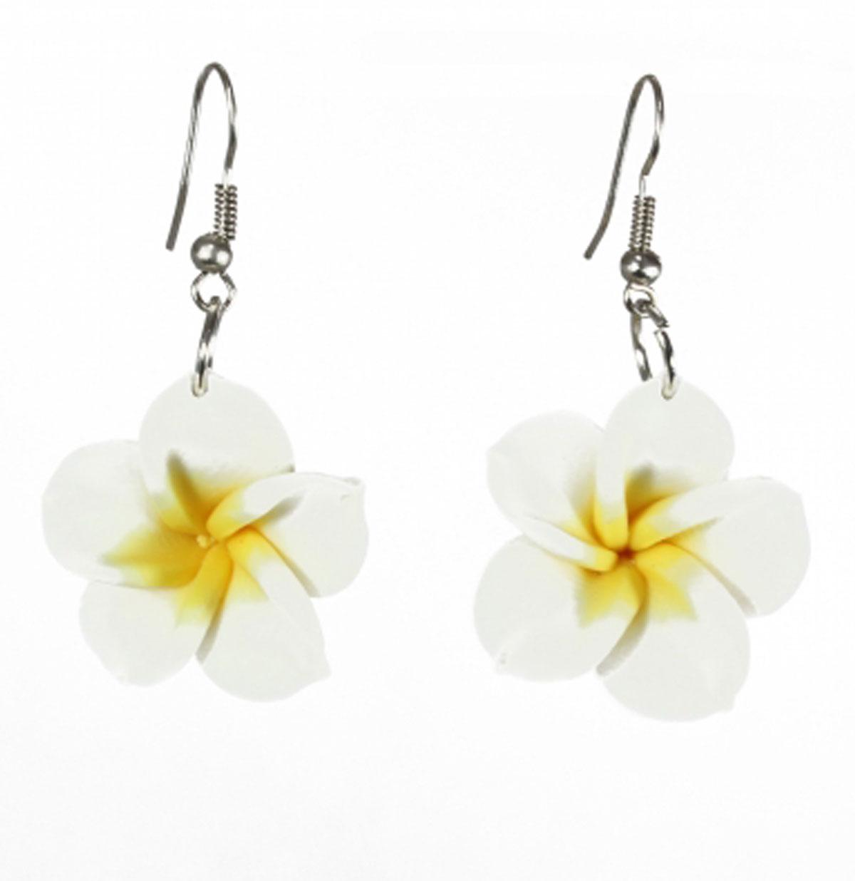 Hawaiian Flower Dangly Earrings, White
