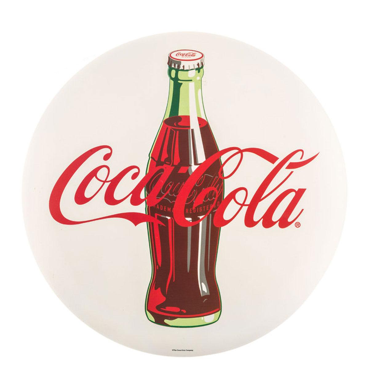 Coca-Cola Rond Metalen Logo Bord Button Wit