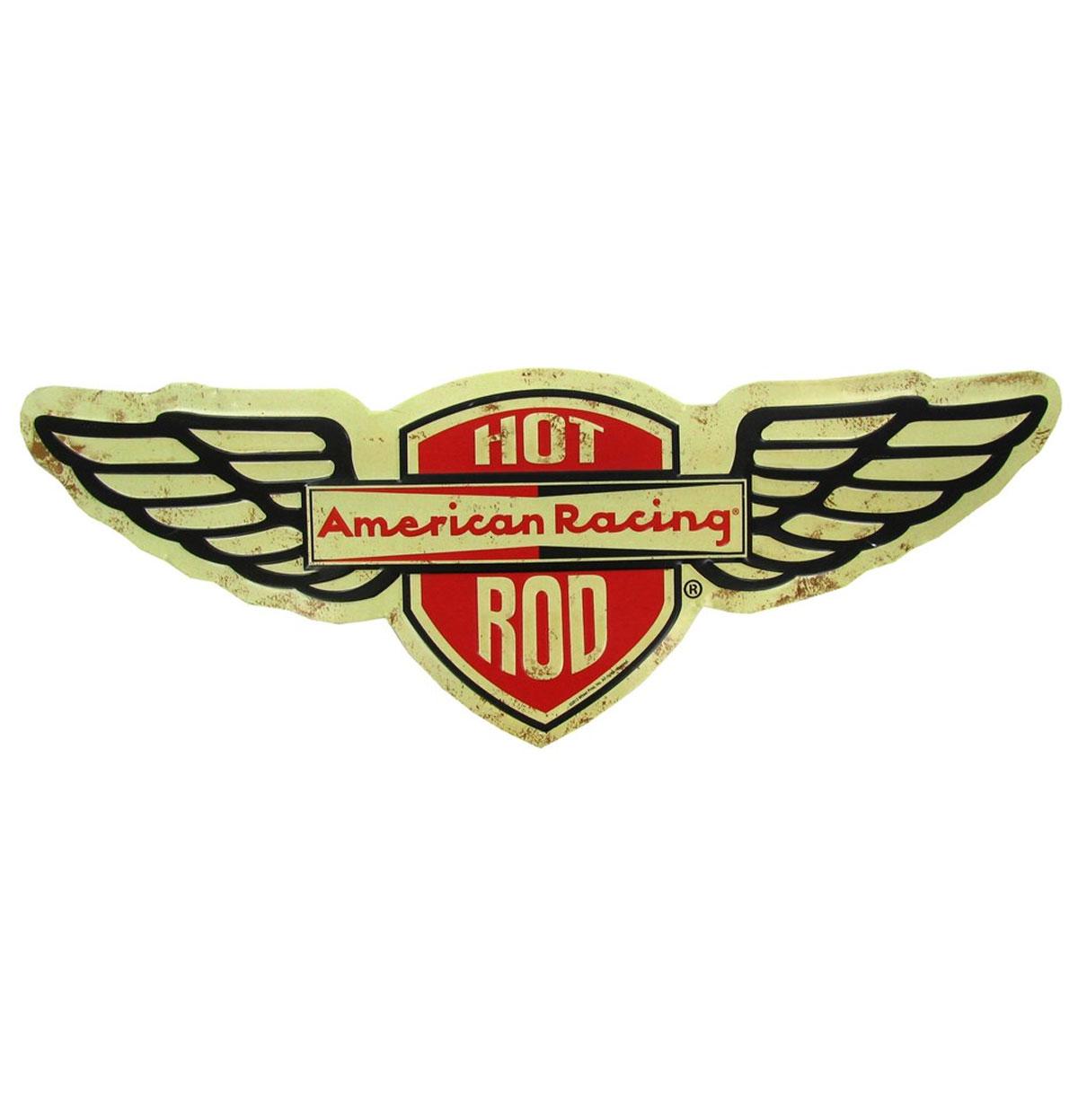 Hot Rod American Racing Die Cut Embossed Tin Sign