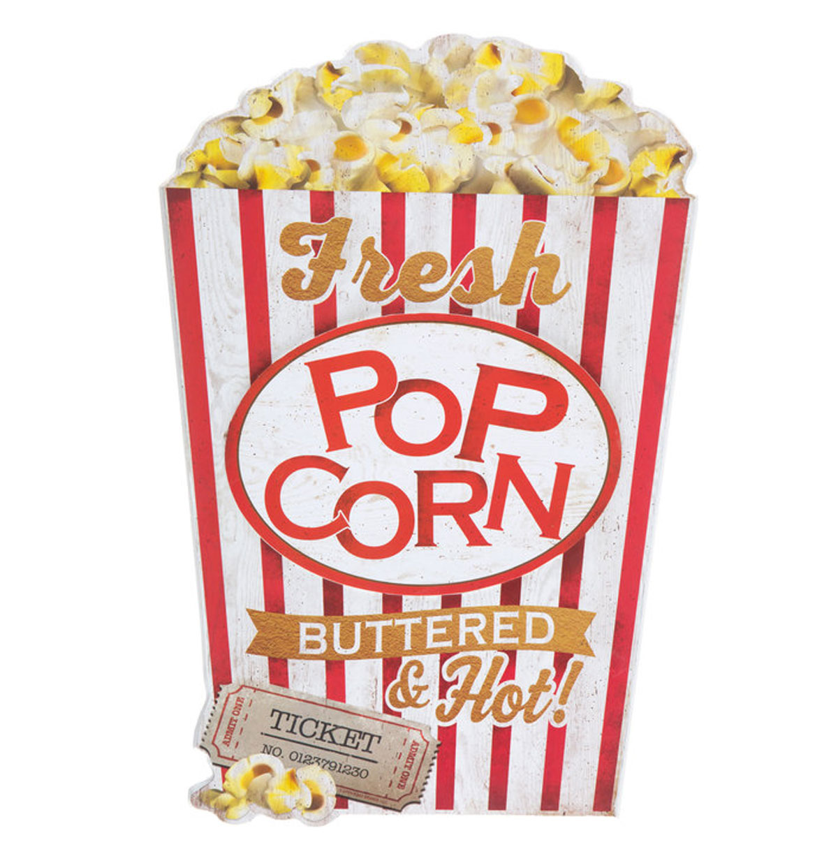 Fresh Popcorn Buttered and Hot MDF Wand Bord