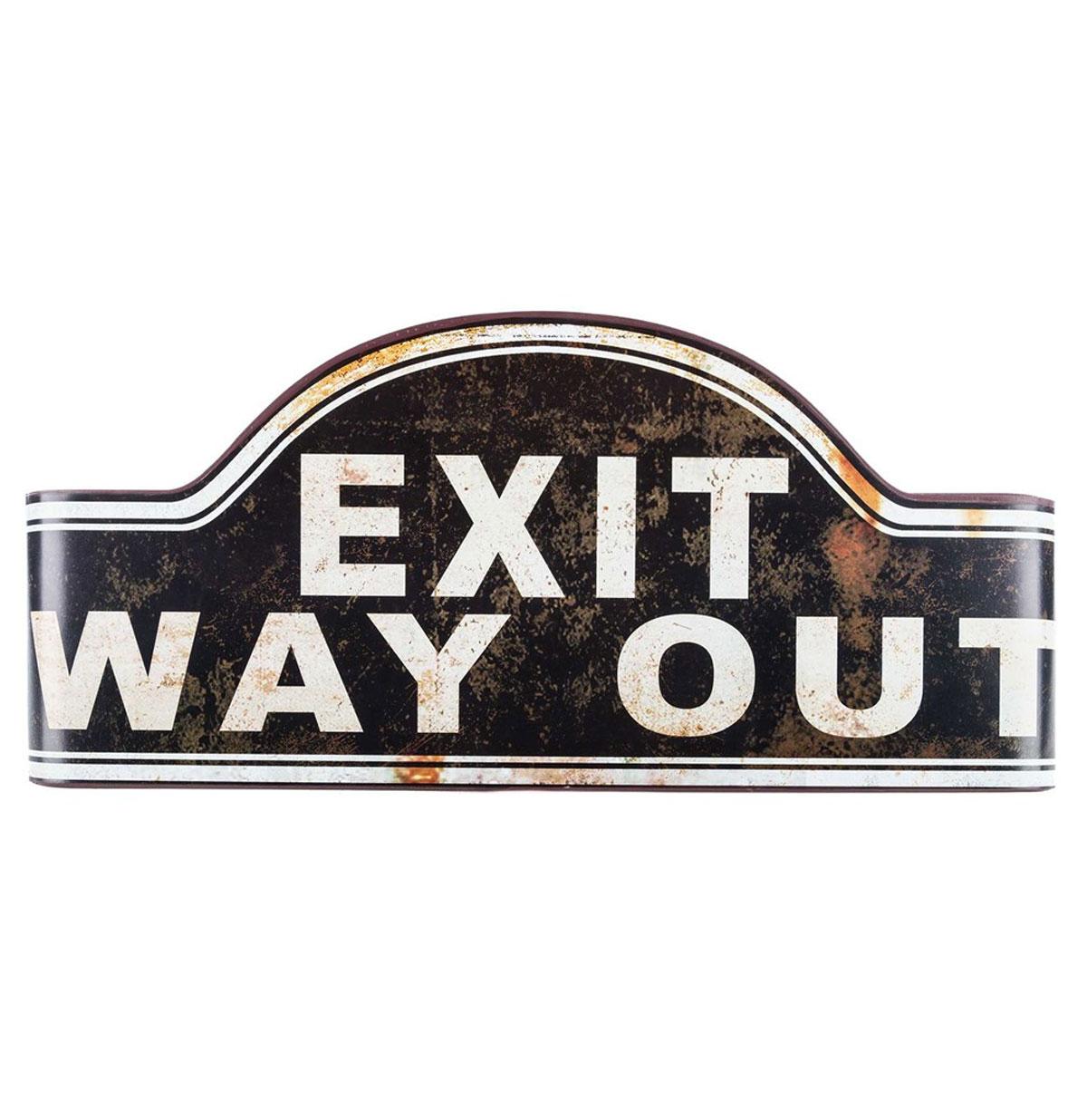 Zwart Gebogen Vintage Exit Way Out Metalen Bord