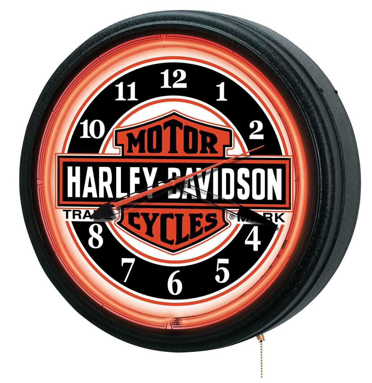 Harley-Davidson Nostalgic Trademark Bar & Shield Neon Klok - LAATSTE KANS, NIET MEER IN PRODUCTIE
