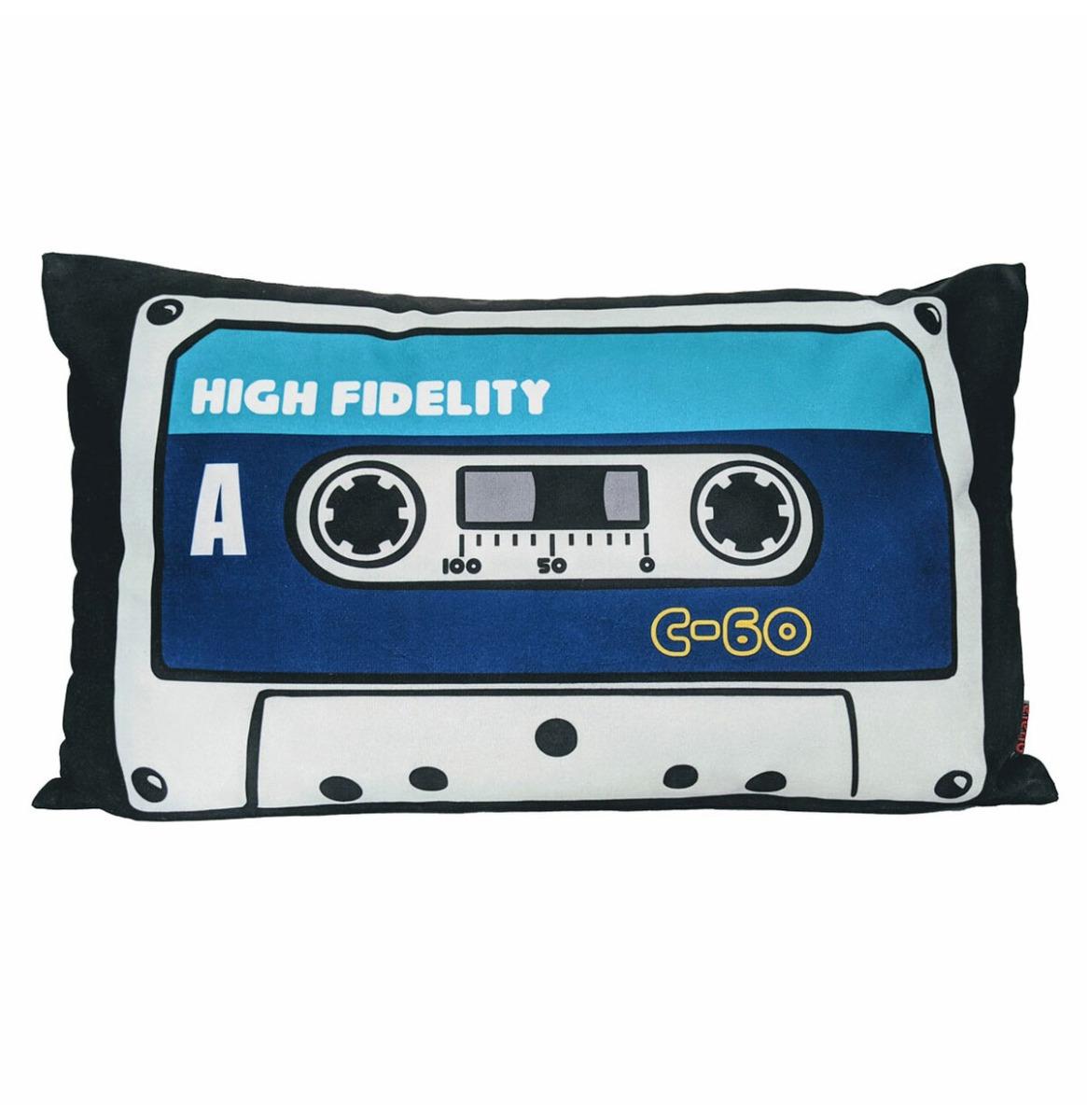 High Fidelity Blauw Cassette Tape Fluwelen Kussen