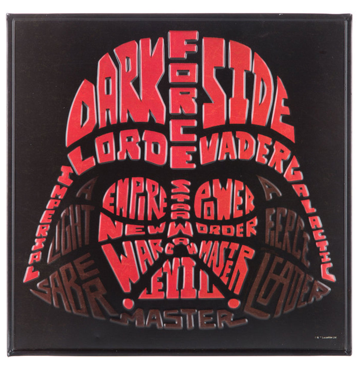 Darth Vader Word Art Relief Tinnen Bord