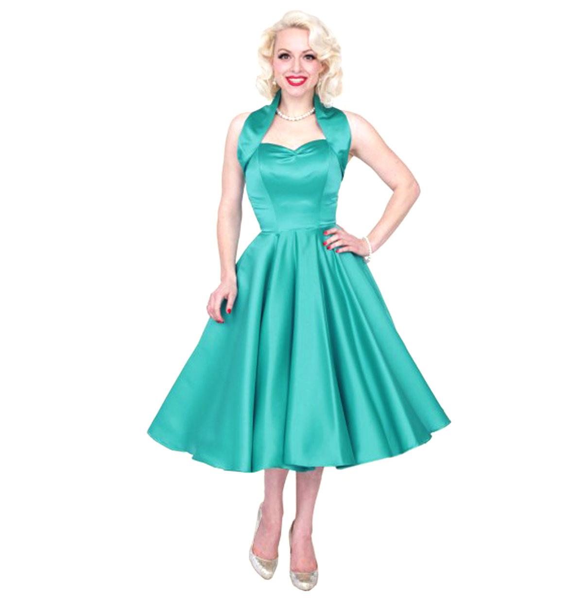 Duchess Satin Dress Turquoise