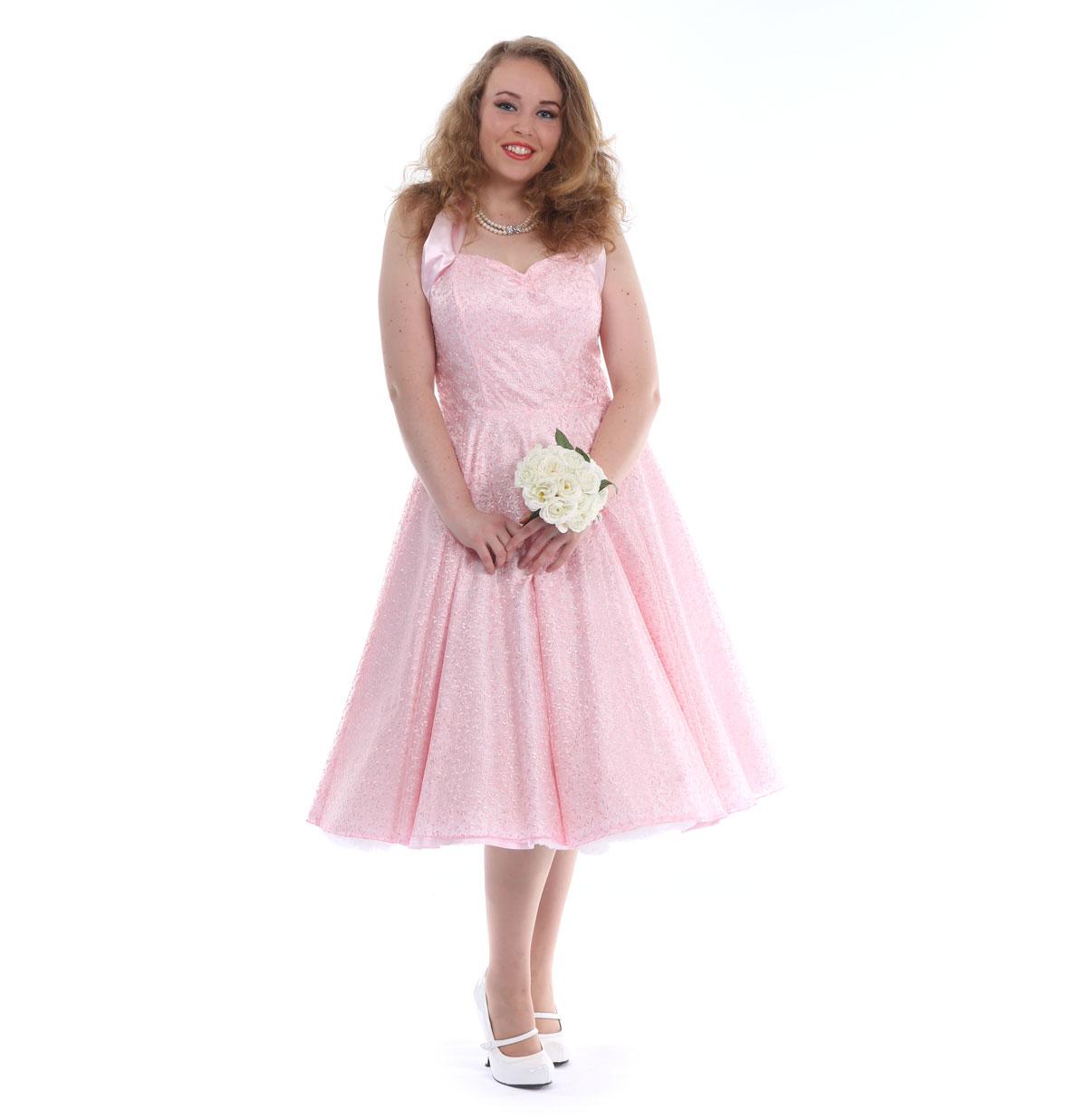 Vivien Of Holloway Ivy Lace Satijnen Jurk Roze