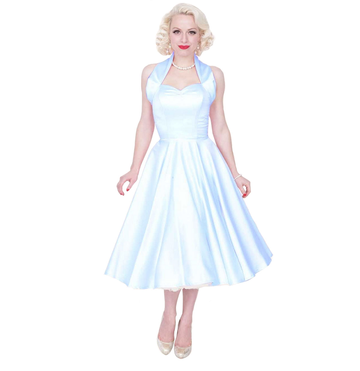 Duchess Satin Dress Pale Blue