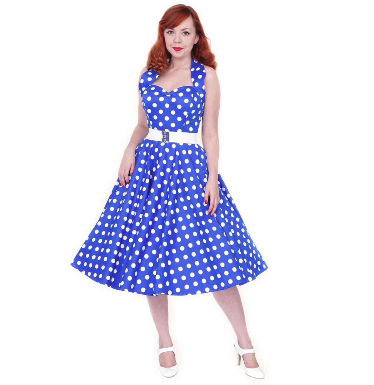 Polka Dress Royal Blue/White