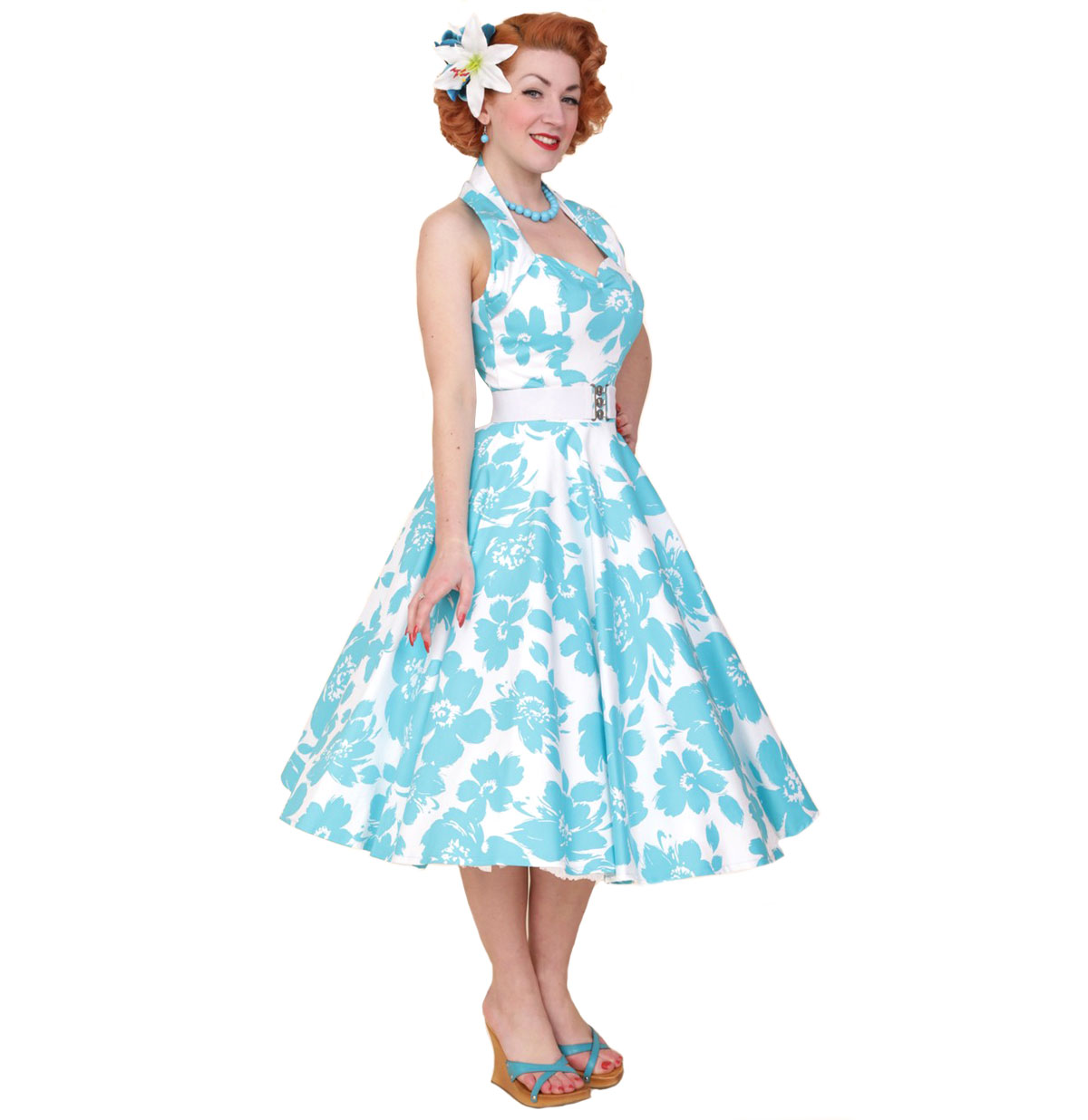 Turquoise Floral Dress White