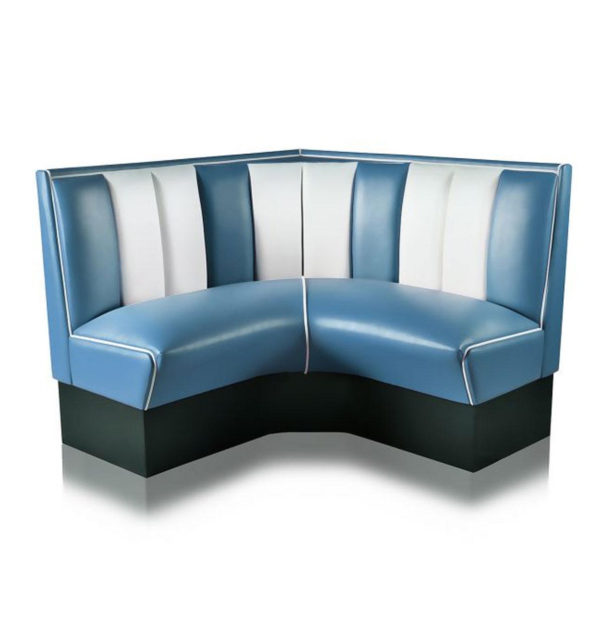 Kwart cirkel Diner Bank 120 cm Blauw