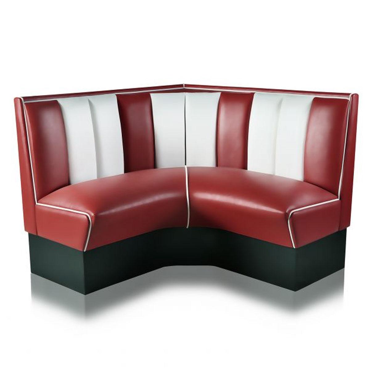 Kwart cirkel Diner Bank 120 cm Ruby/Wit