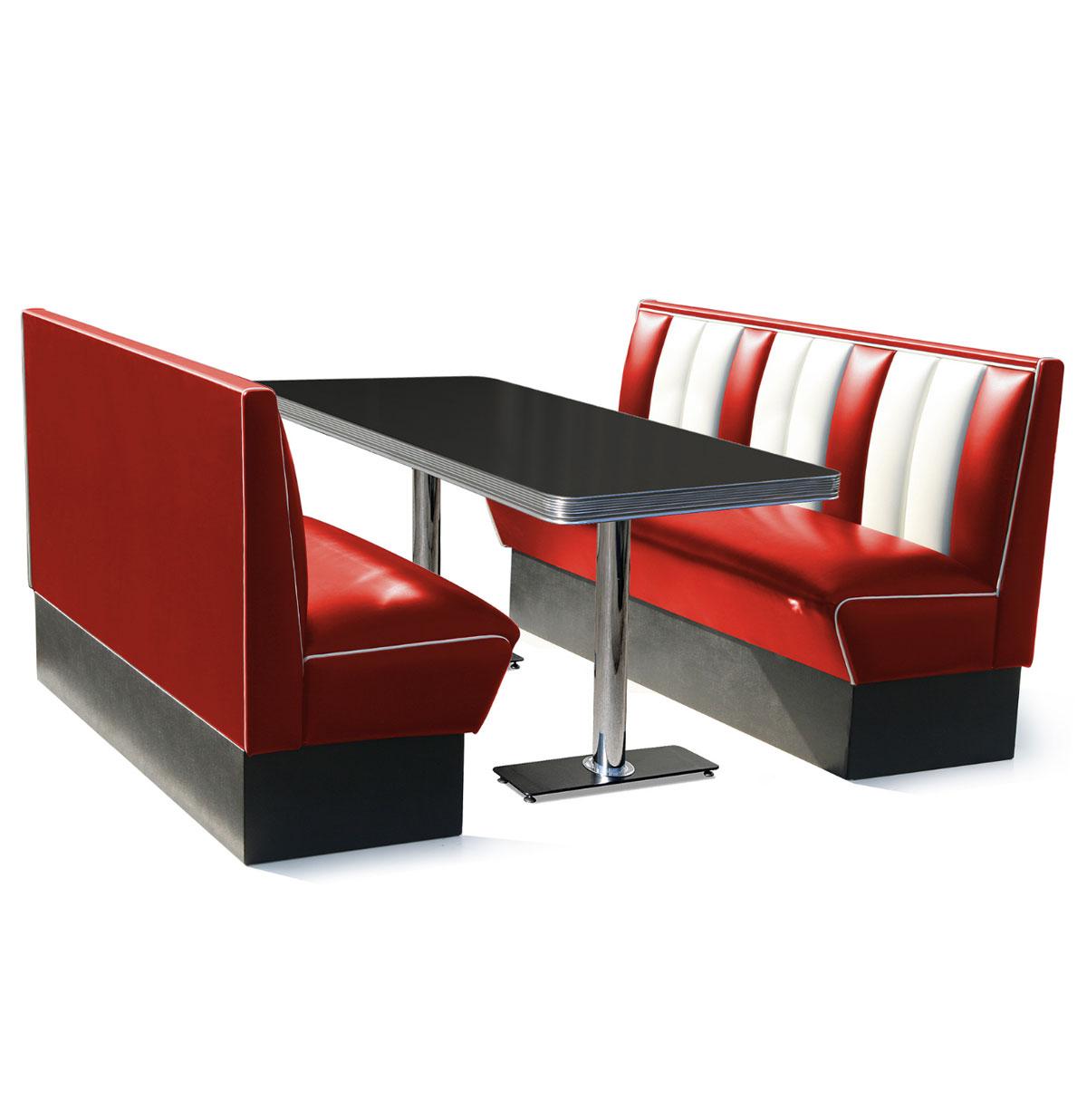 Classic Diner Retro Bel Air Set 2 x Bank 150 cm en tafel