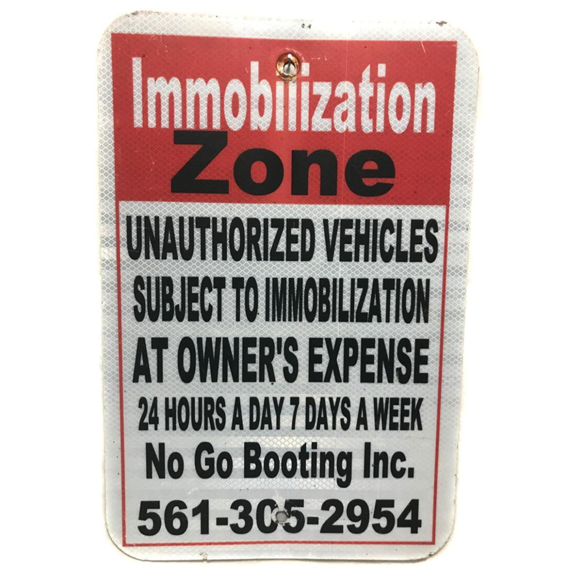Immobilization Zone Metalen Straatbord - Origineel - 46 x 31 cm