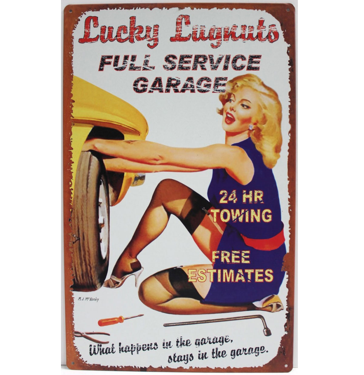 Lucky Lugnuts Full Service Garage Pin-Up Metalen Bord 20 x 30 cm