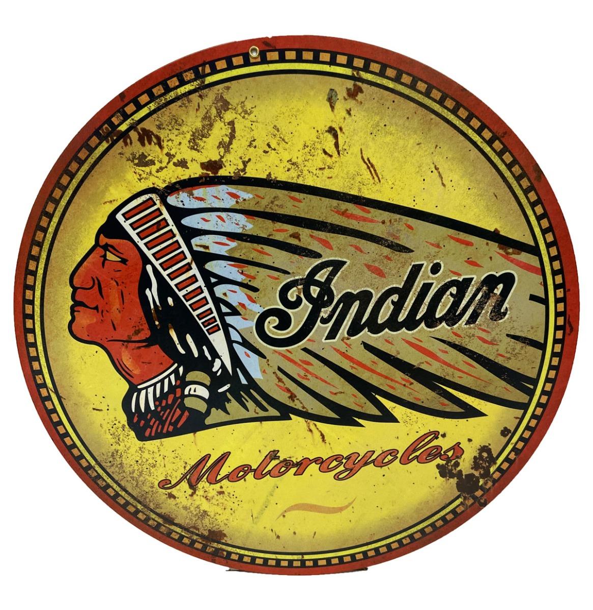 Indian Motorcycles - Metalen Bord 35 x 35 cm