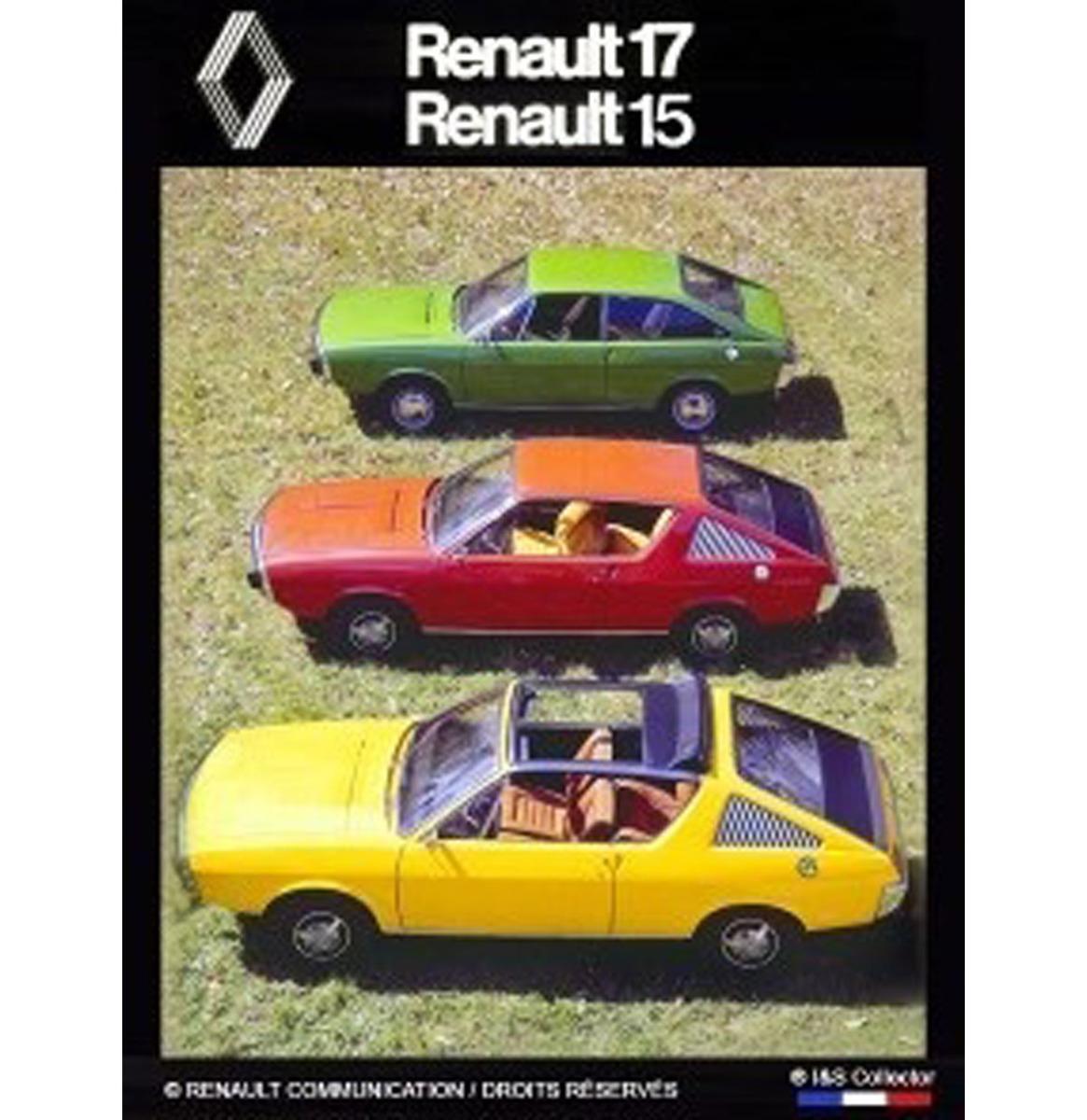Metalen Bord Renault 17 et 15 30x40 cm