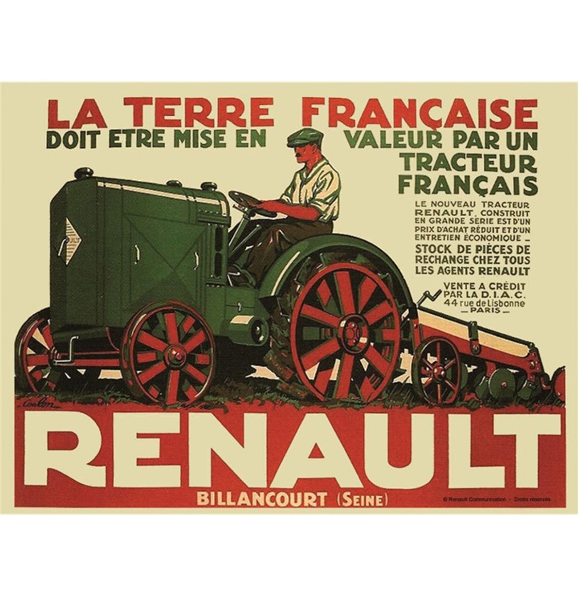 Metalen Bord RA 40x30cm Tracteur Renault