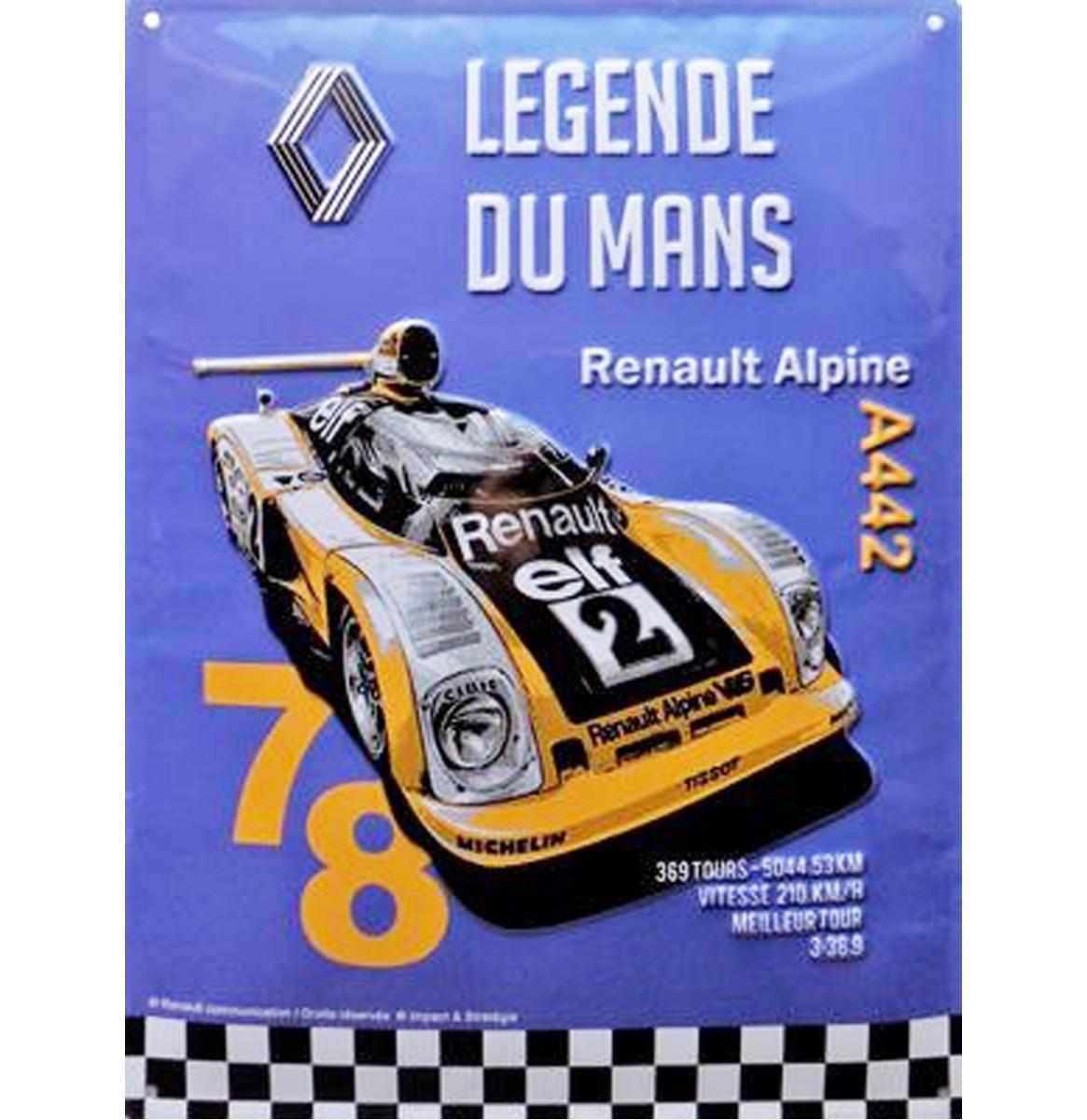 Metalen Bord Renault RA 40x30cm Le Mans Legende