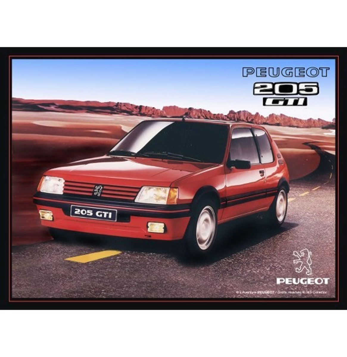 Metalen Bord 30x40 Peugeot 205 GTI R