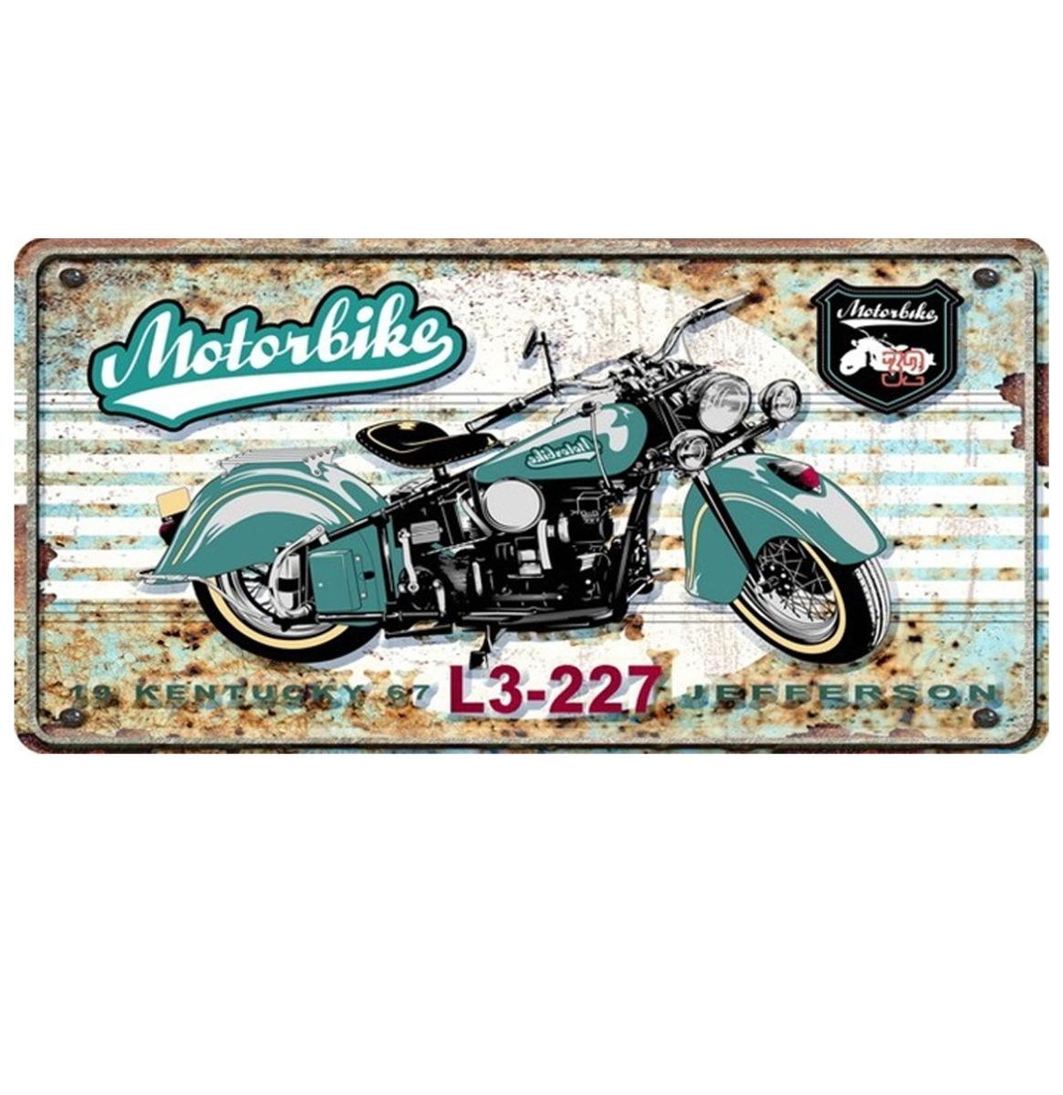 Motorbike Kentucky Jefferson Metalen Bord Met Reliëf - 40 x 20 cm
