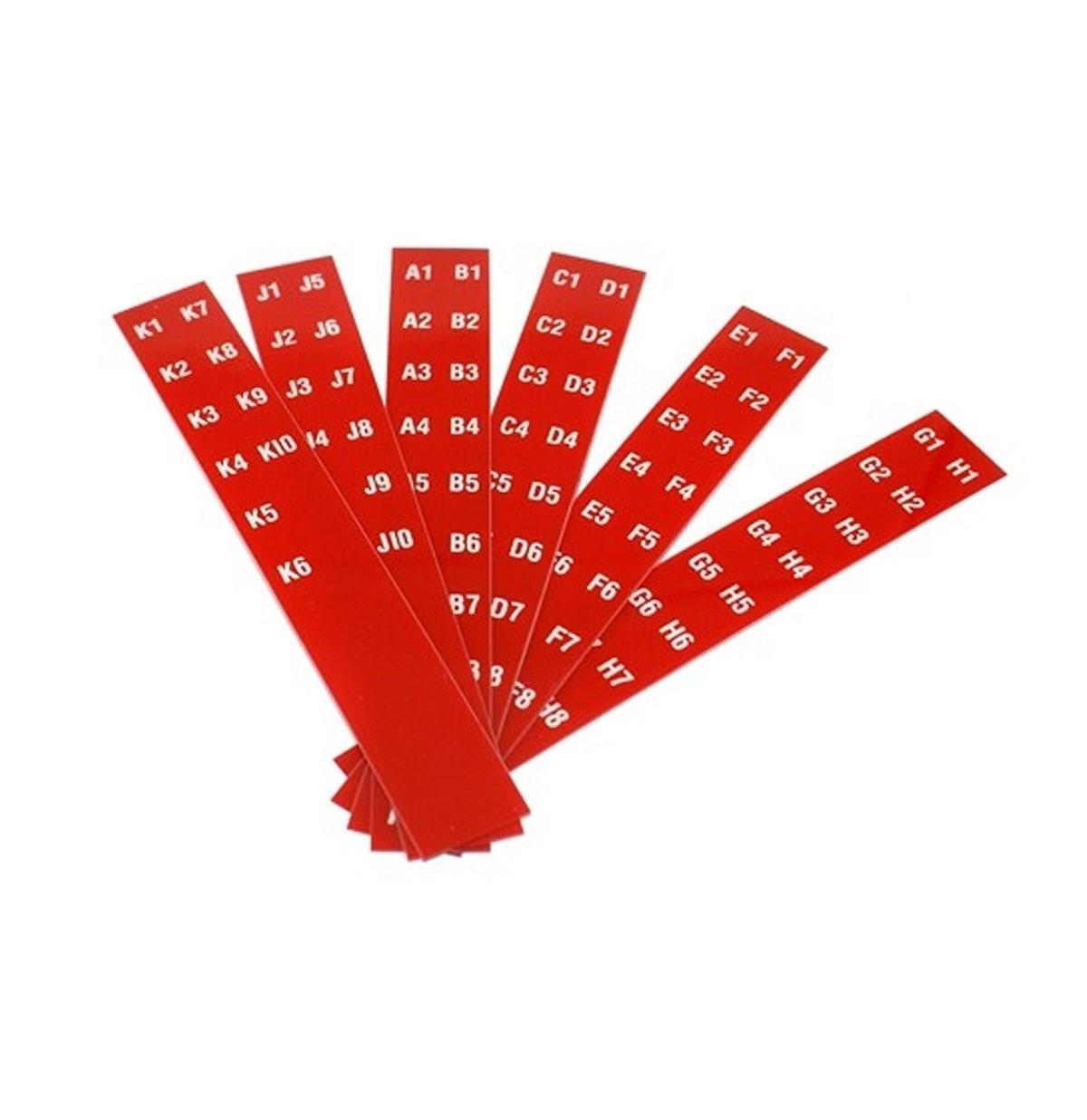 Seeburg Letters / Nummers in titelstrip houders (rood) Jukebox Model 100B