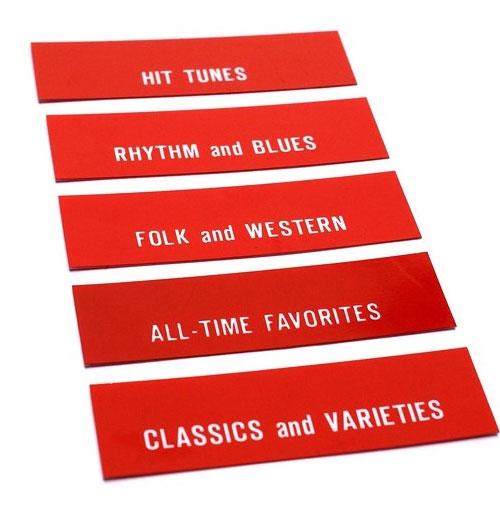 Seeburg Classificatie strips achter de lensjes (rood) model V200