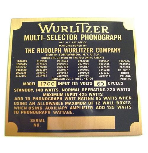 Wurlitzer 1700 typeplaatje achterzijde kast