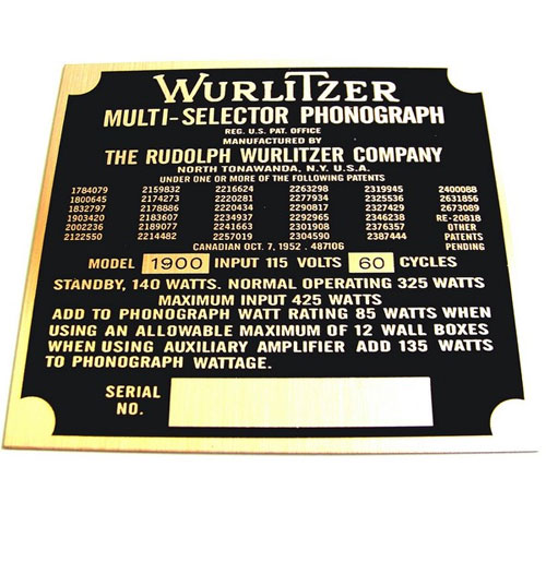 Wurlitzer 1900 typeplaatje achterzijde kast