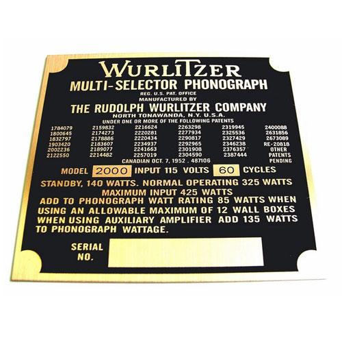 Wurlitzer 2000 typeplaatje achterzijde kast