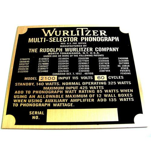 Wurlitzer 2100 typeplaatje achterzijde kast