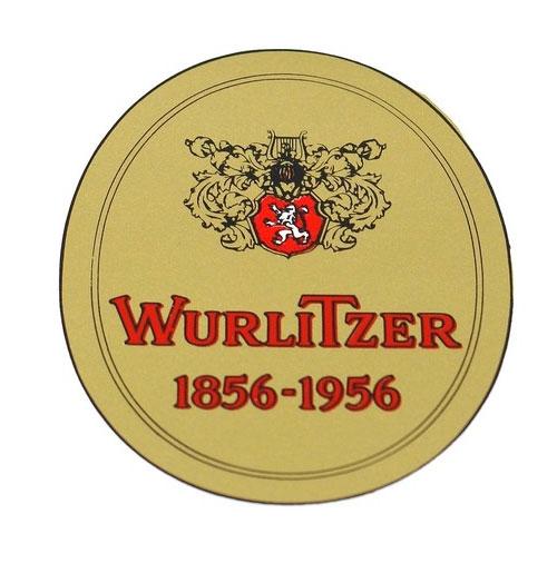 Wurlitzer 1900 - 2000 watertransfer 1856-1956 op afdekbordje