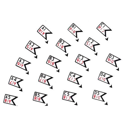 Wurlitzer 1700 sticker letters en nummers voor platenmagazijn