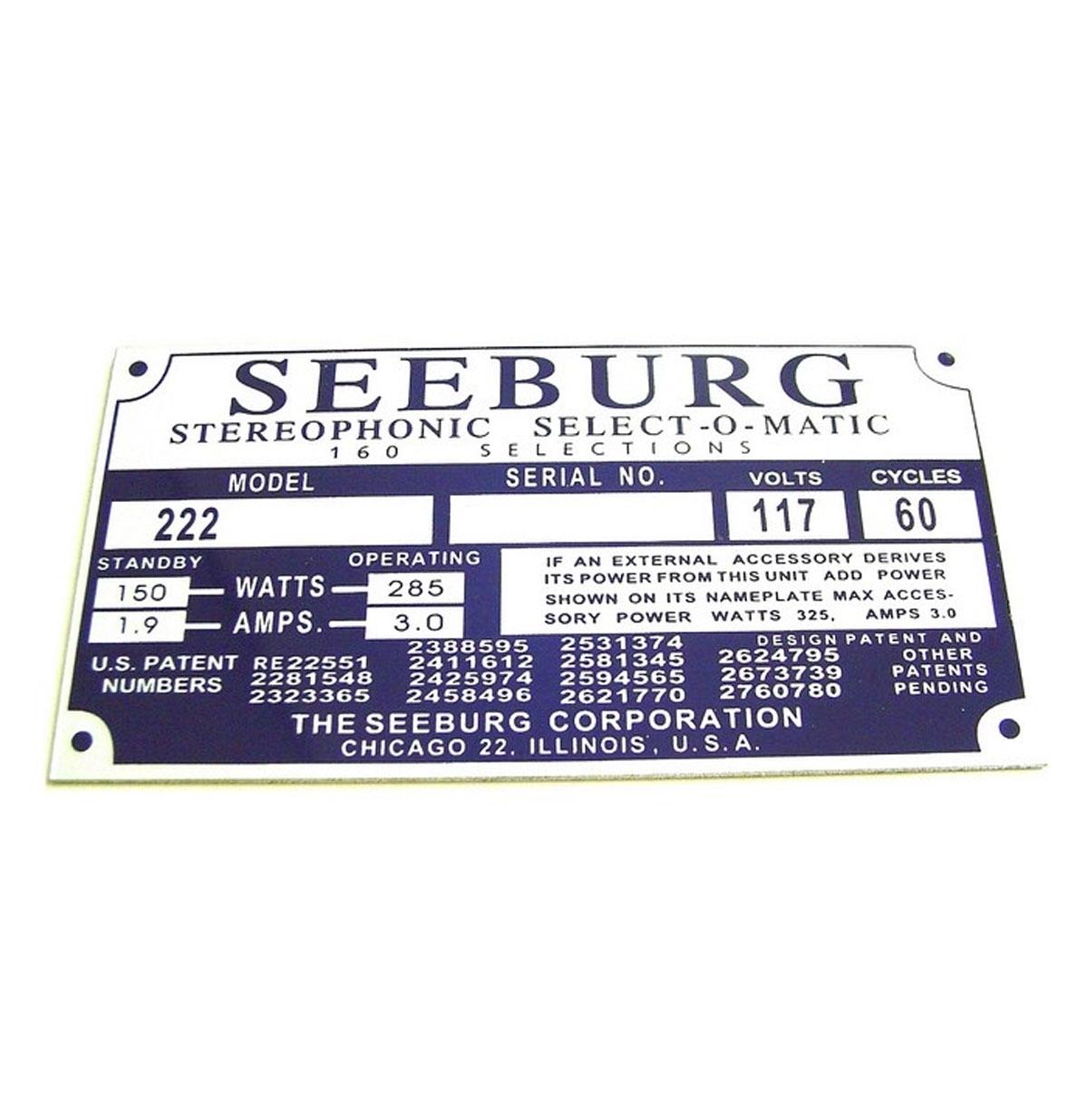 Seeburg typeplaatje achterzijde kast model 222