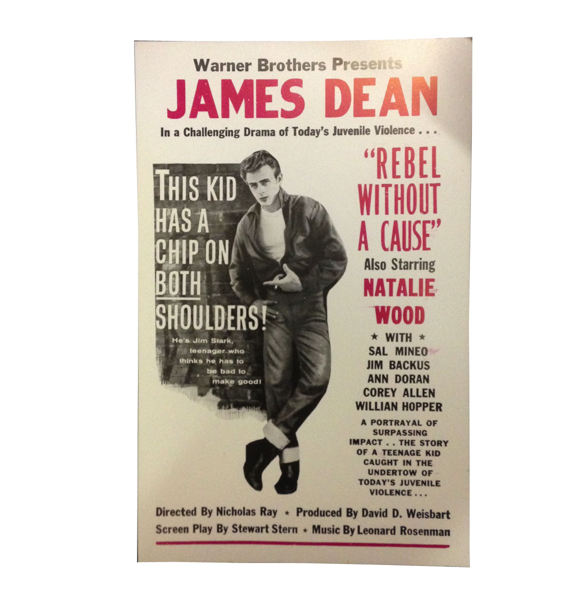 James Dean aankondiging poster Rebel Without a Cause