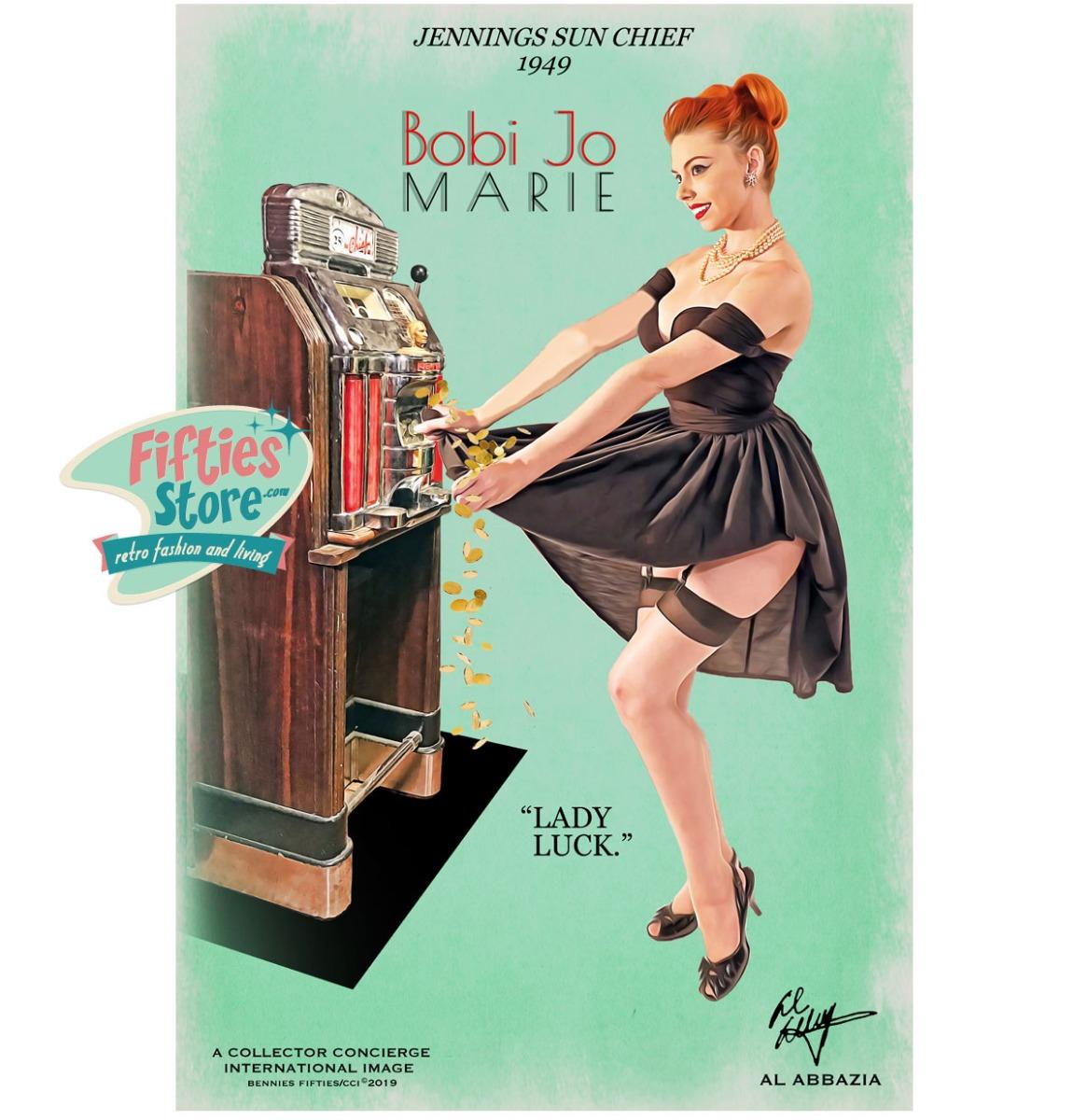 Jennings Sun Chief Slot Machine Pin-Up Bobi Jo Marie Zwaar Metalen Bord 92 x 61 cm