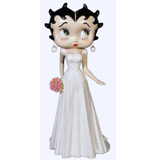 Betty Boop in bruidsjurk beeld 3ft