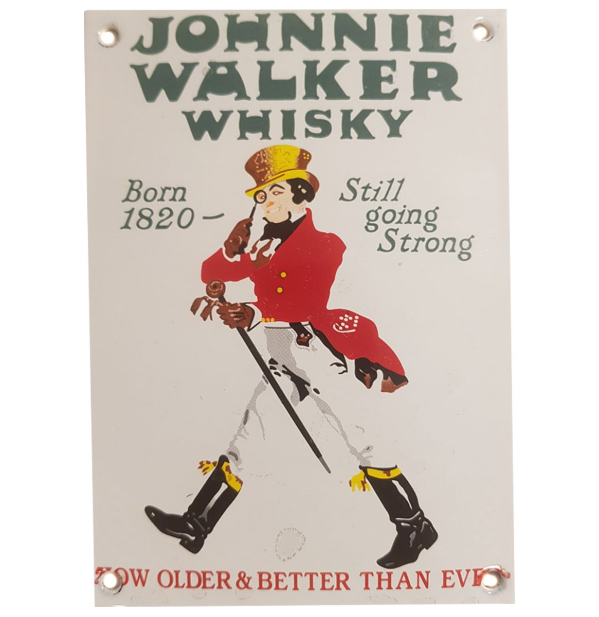 Johnnie Walker Whisky Emaille Bord - 15 x 11 cm