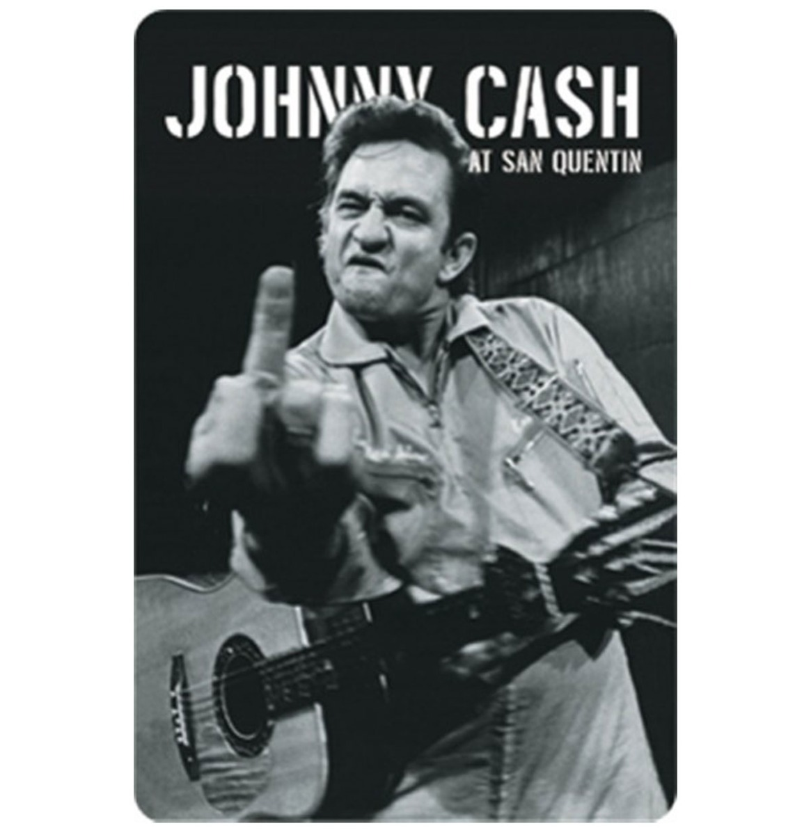 Johnny Cash At San Quentin Metalen Bord - 8 x 11 cm