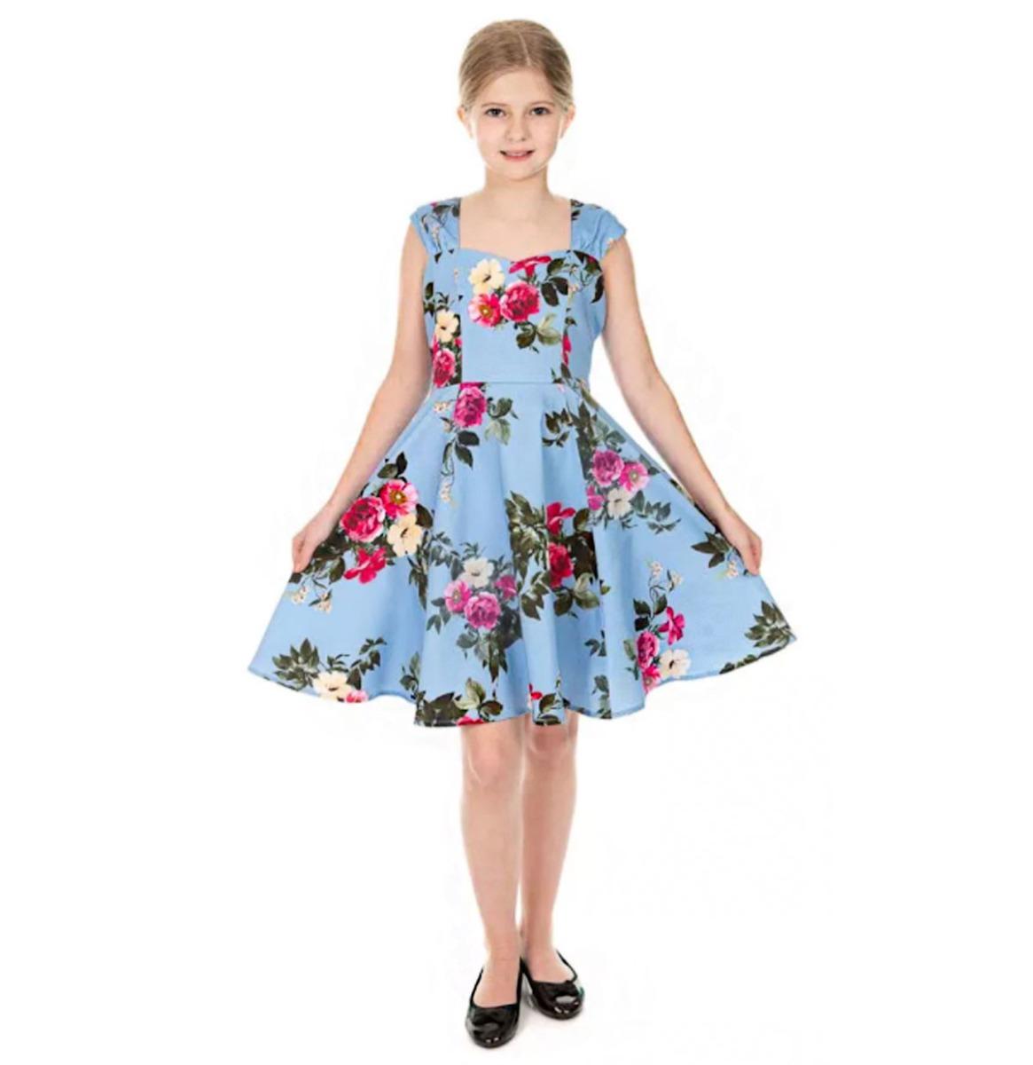 Hearts & Roses Jolene Kids Floral Swing Jurk Blauw