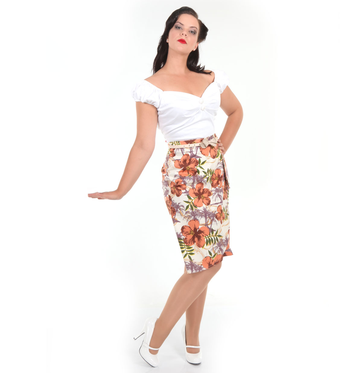 Kaila Pencil Skirt, Tropical Print
