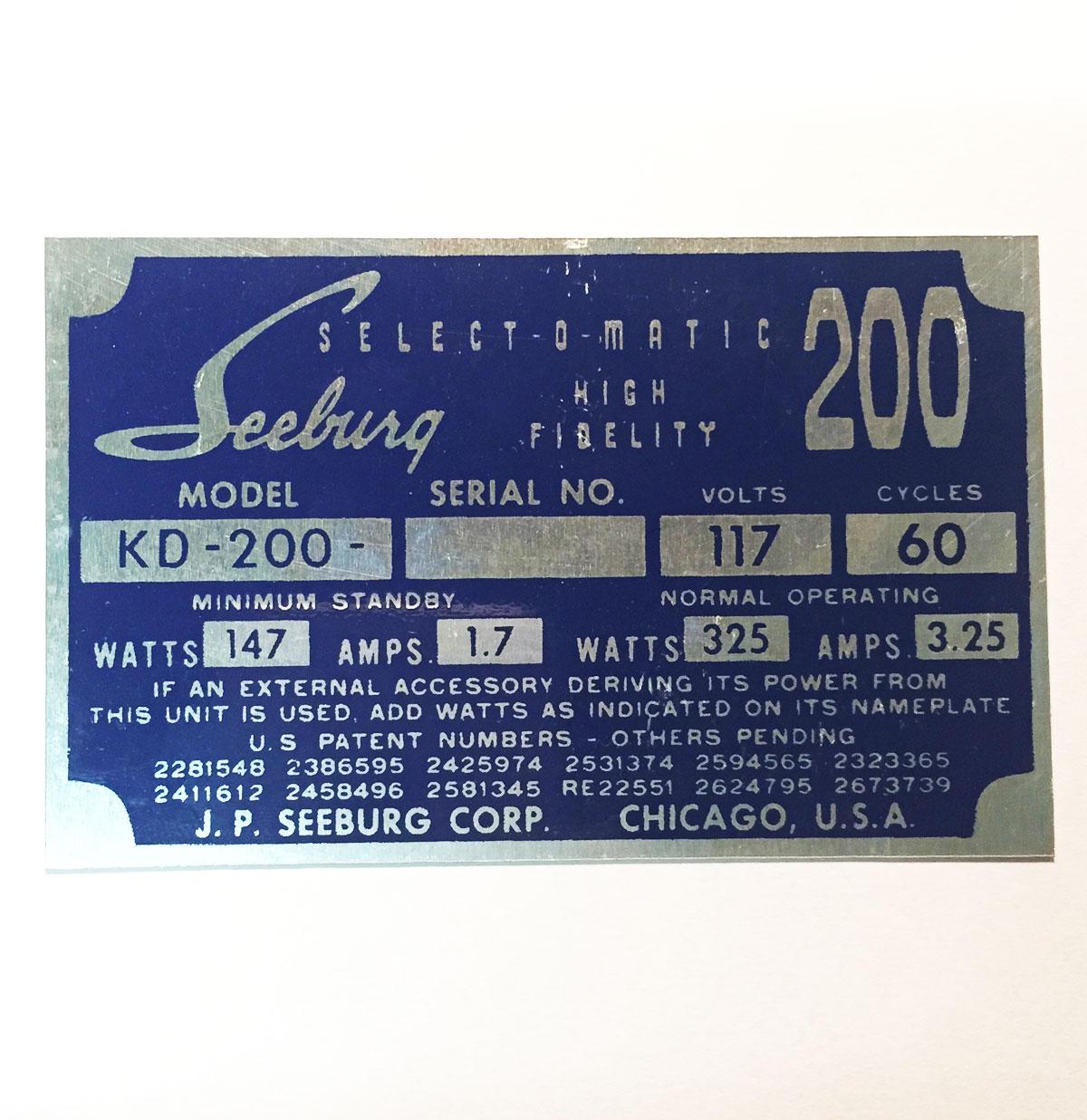 Seeburg typeplaatje achterzijde kast model KD200