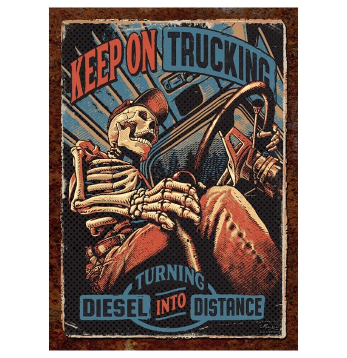 Keep Trucking - Metalen Bord Met Reliëf - 43 x 31 cm