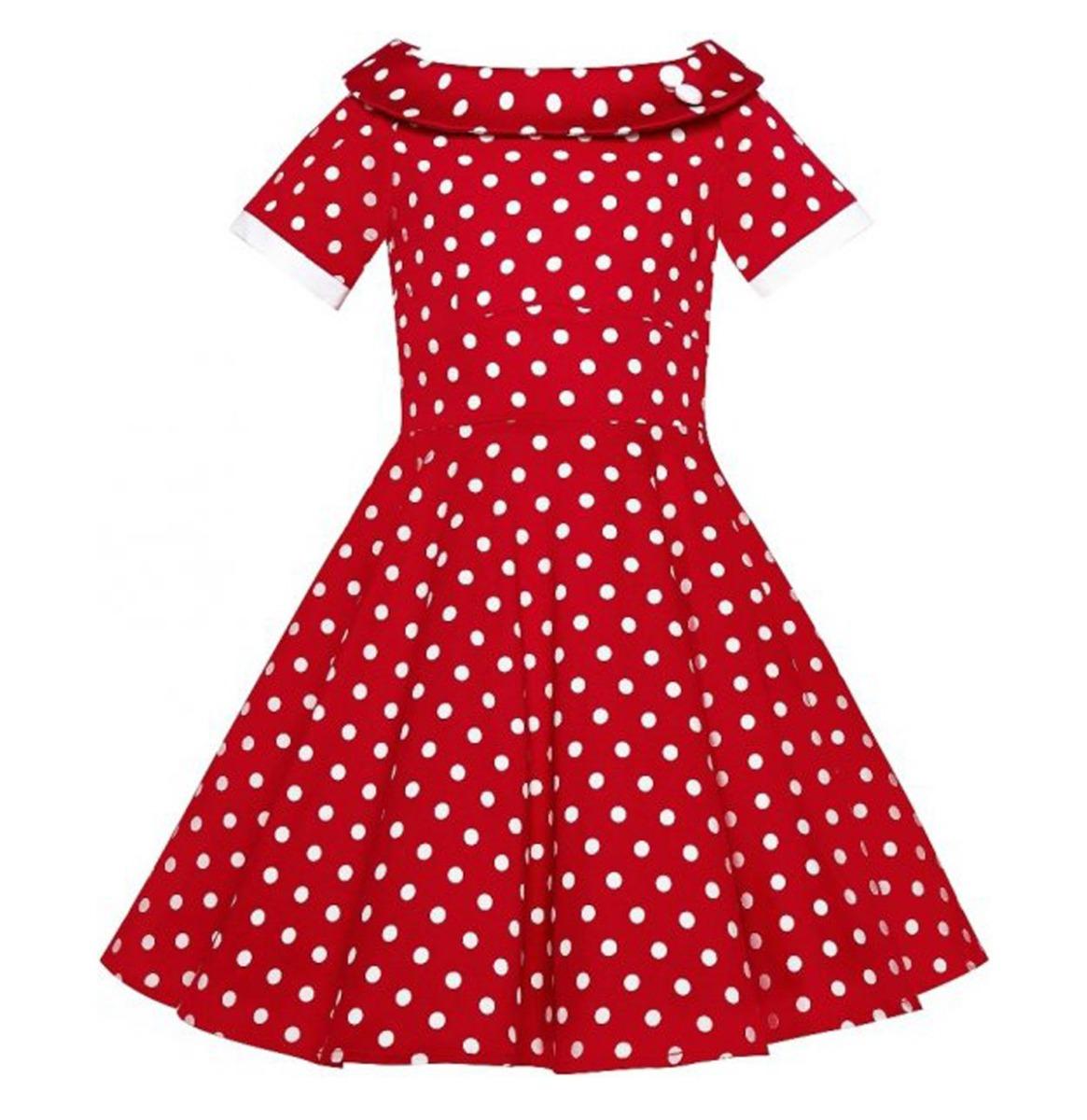 Darlene Kids Swing Dress Polka Red / White